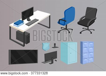 Office Furniture Flat Color Vector Objects Set. Police Department, Business Company Furnishing. Work