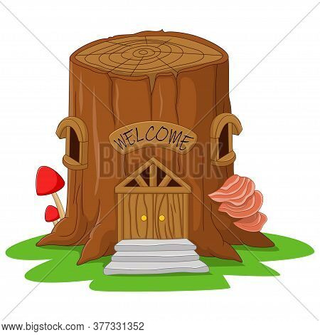 Vector Illustration Of Cartoon Tree Stump Fairy House