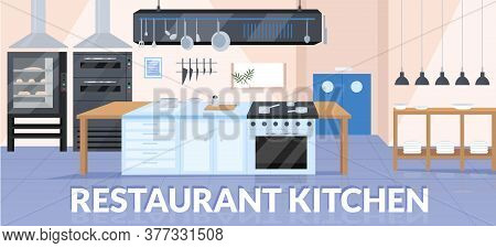 Restaurant Kitchen Banner Flat Vector Template. Professional Catering Service, Culinary Show Brochur