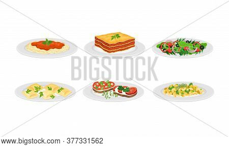 Italian Dishes With Pasta And Bruschetta Served On Plates Side View Vector Set