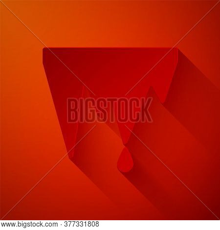 Paper Cut Icicle Icon Isolated On Red Background. Stalactite, Ice Spikes. Winter Weather, Snow Cryst