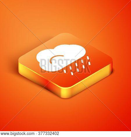 Isometric Cloud With Rain Icon Isolated On Orange Background. Rain Cloud Precipitation With Rain Dro