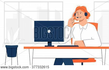 Female Office Worker Making Online Call With The Customer To Avoid Direct Contact. Back To Office Af