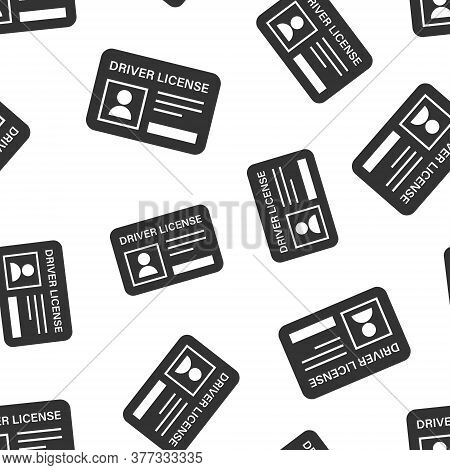 Driver License Icon In Flat Style. Id Card Vector Illustration On White Isolated Background. Identit