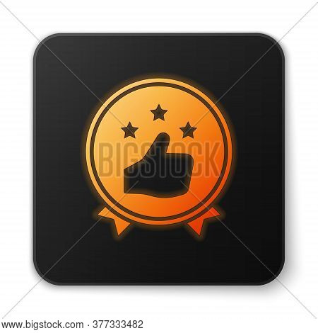 Orange Glowing Neon Consumer Or Customer Product Rating Icon Isolated On White Background. Black Squ