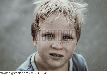 Toned Portrait Like Poor Sad Homeless Beggar Dirty Boy Child Made For Concept As Humble Earth Misery