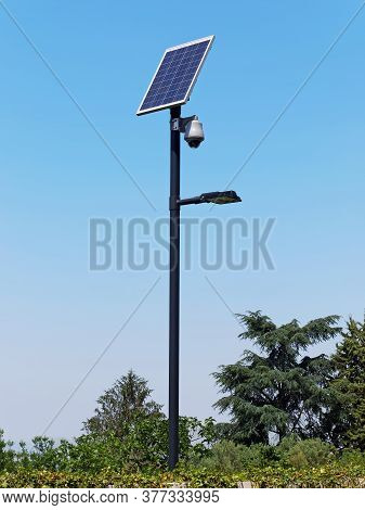 Street Lighting Pole With Photovoltaic Panel And Surveillance Camera