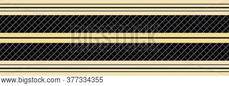 Classic Gold Black Vector Striped Seamless Border. Banner Of Thin And Thick Stripes. Elegant Linear