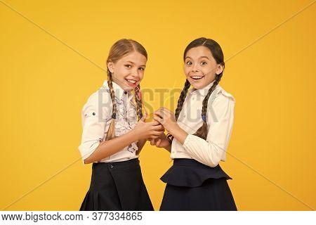 Vitamin Nutrition. Fresh Fruit School. Girls Kids School Uniform Drinking Orange Fruit Fresh Juice.