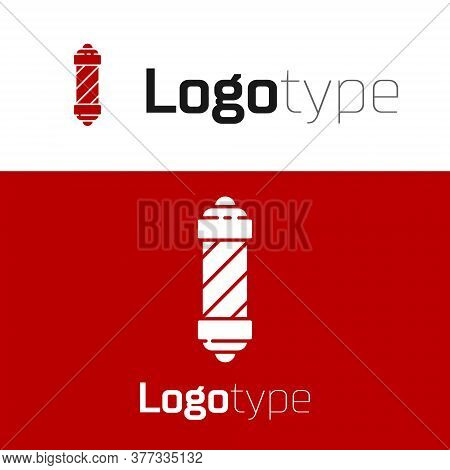 Red Classic Barber Shop Pole Icon Isolated On White Background. Barbershop Pole Symbol. Logo Design