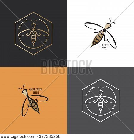 Golden Honeybee. Vector Icon, Logo. Set. Label And Tag With Bee In Honeycomb. Linear Style.