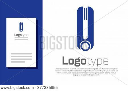 Blue Curling Iron For Hair Icon Isolated On White Background. Hair Straightener Icon. Logo Design Te