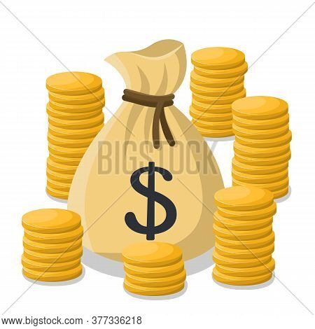Tied Money Bag With A Dollar Sign And Gold Coins. Vector Illustration In Cartoon Style Isolated On W