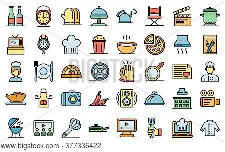 Cooking Show Icons Set. Outline Set Of Cooking Show Vector Icons Thin Line Color Flat On White