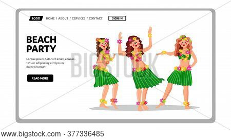 Beach Party In Hawaiian Traditional Style Vector