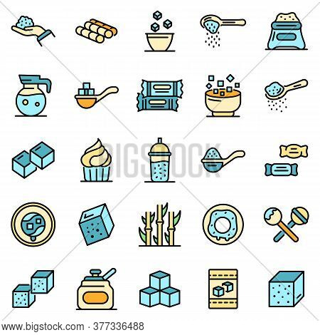 Sugar Icons Set. Outline Set Of Sugar Vector Icons Thin Line Color Flat On White