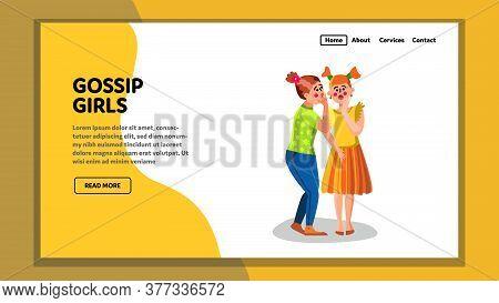 Gossip Girls Talking Secrets And Surprised Vector