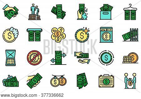 Money Laundering Icons Set. Outline Set Of Money Laundering Vector Icons Thin Line Color Flat On Whi