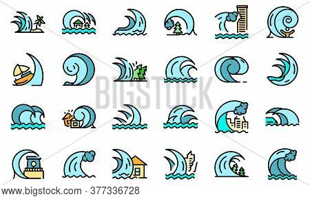Tsunami Icons Set. Outline Set Of Tsunami Vector Icons Thin Line Color Flat On White