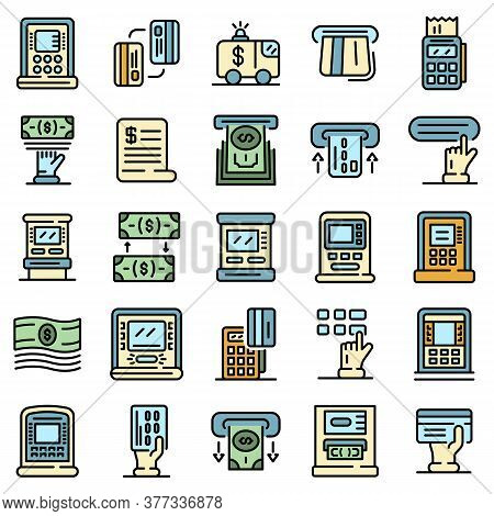 Atm Machine Icons Set. Outline Set Of Atm Machine Vector Icons Thin Line Color Flat On White