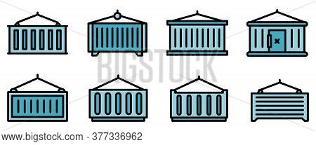 Cargo Container Icons Set. Outline Set Of Cargo Container Vector Icons Thin Line Color Flat On White