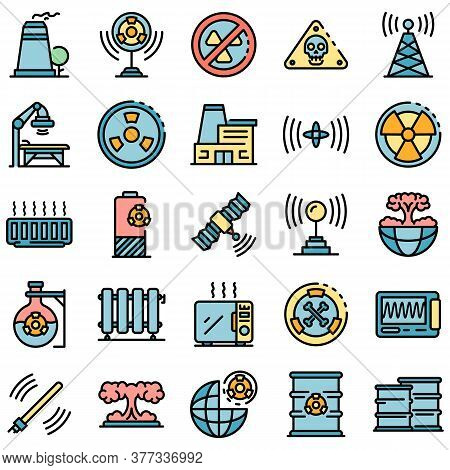 Radiation Icons Set. Outline Set Of Radiation Vector Icons Thin Line Color Flat On White