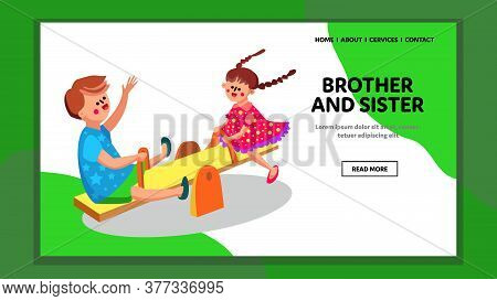 Brother And Sister Playing In Kindergarten Vector