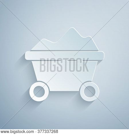 Paper Cut Coal Mine Trolley Icon Isolated On Grey Background. Factory Coal Mine Trolley. Paper Art S