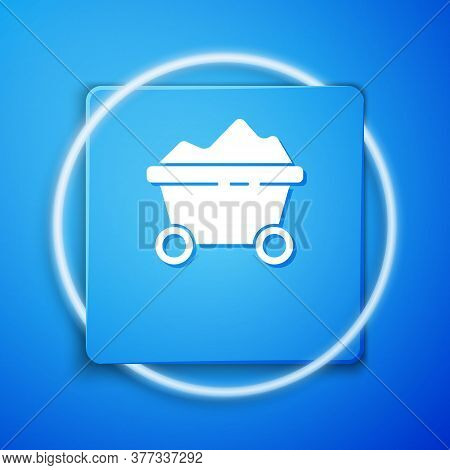 White Coal Mine Trolley Icon Isolated On Blue Background. Factory Coal Mine Trolley. Blue Square But