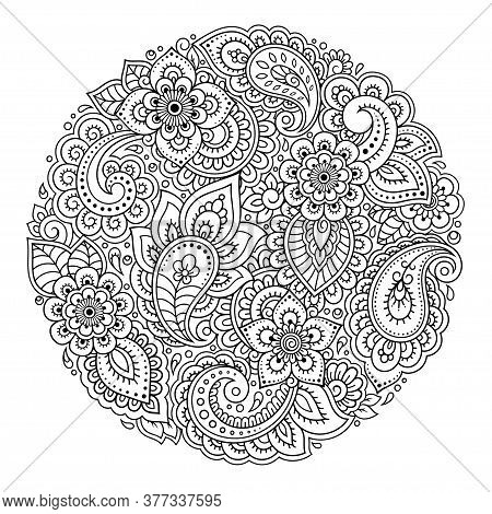 Outline Round Flower Pattern In Mehndi Style For Coloring Book Page. Antistress For Adults And Child