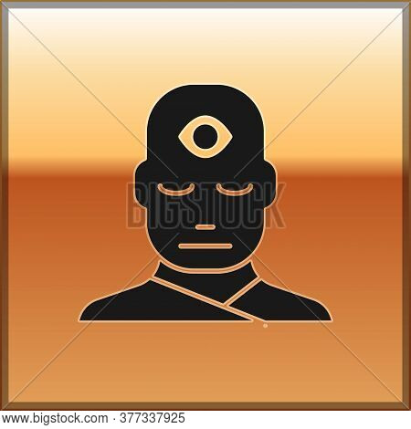 Black Man With Third Eye Icon Isolated On Gold Background. The Concept Of Meditation, Vision Of Ener