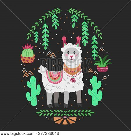 Cartoon Cute Vector Lama Alpaca, Art For Children.