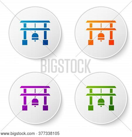 Color Japan Gate Icon Isolated On White Background. Torii Gate Sign. Japanese Traditional Classic Ga