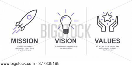Mission, Vision And Values Of Company With Text. Web Page Template. Modern Flat Design. Abstract Ico