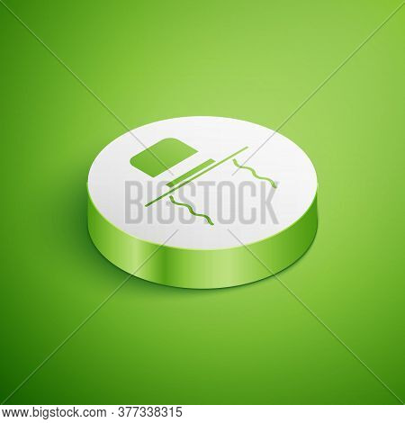 Isometric Orthodox Jewish Hat With Sidelocks Icon Isolated On Green Background. Jewish Men In The Tr