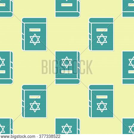 Green Jewish Torah Book Icon Isolated Seamless Pattern On Yellow Background. On The Cover Of The Bib