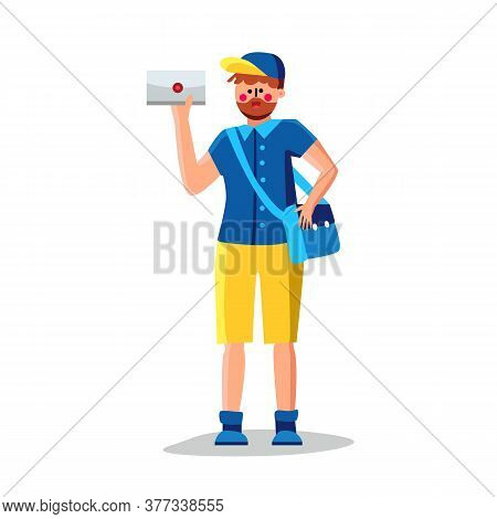 Mail Man With Mailbag Delivering Letter Vector