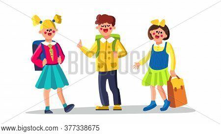 Classmates School Children Boy And Girl Vector