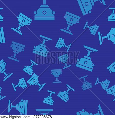 Blue Christian Chalice Icon Isolated Seamless Pattern On Blue Background. Christianity Icon. Happy E