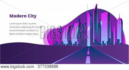 Fantastic City In The Style Of Cyberpunk. Vector Illustration In Retro Style In Neon Colors. Night C