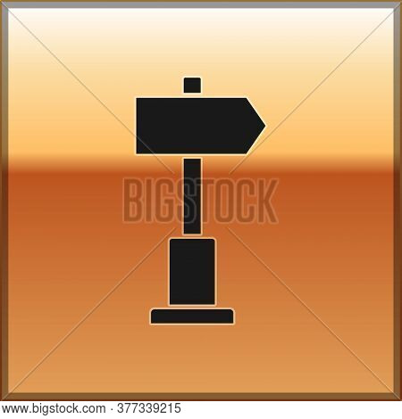 Black Road Traffic Sign. Signpost Icon Isolated On Gold Background. Pointer Symbol. Street Informati