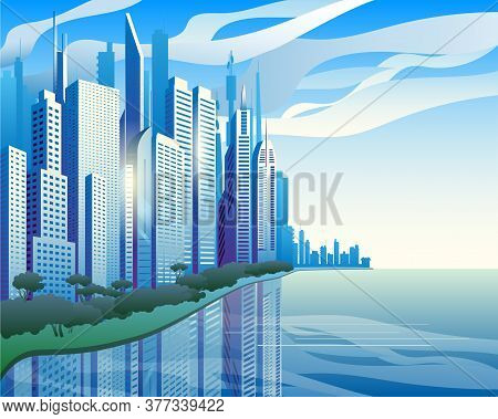 A Modern City On The Banks Of The River. Blue Skyscrapers Against The Clouds. Vector Illustration.