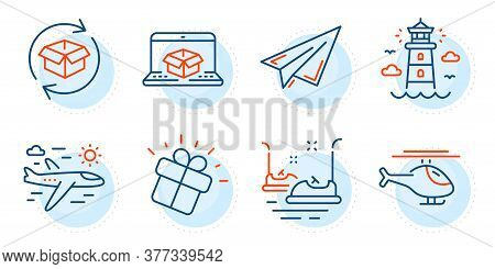 Bumper Cars, Return Parcel And Paper Plane Signs. Lighthouse, Online Delivery And Gift Line Icons Se