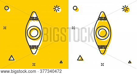 Black Kayak And Paddle Icon Isolated On Yellow And White Background. Kayak And Canoe For Fishing And