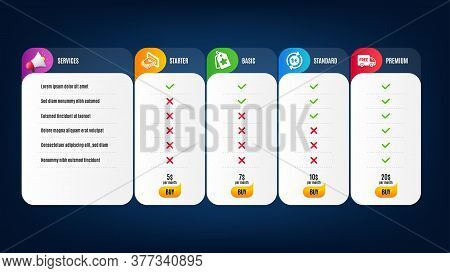 Loyalty Tags, Free Delivery And Money Currency Icons Simple Set. Price List, Pricing Table. Cash Sig