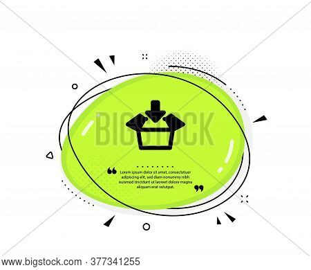 Get Box Icon. Quote Speech Bubble. Open Delivery Parcel Sign. Cargo Package Symbol. Quotation Marks.