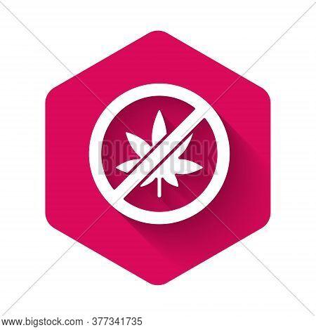 White Stop Marijuana Or Cannabis Leaf Icon Isolated With Long Shadow. No Smoking Marijuana. Hemp Sym