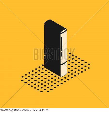 Isometric Marijuana Joint, Spliff Icon Isolated On Yellow Background. Cigarette With Drug, Marijuana