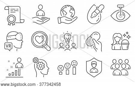Set Of People Icons, Such As Thoughts, Eye Drops. Diploma, Ideas, Save Planet. Capsule Pill, Eye Las