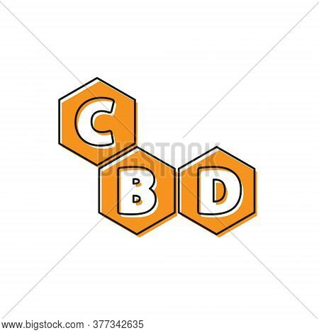 Orange Cannabis Molecule Icon Isolated On White Background. Cannabidiol Molecular Structures, Thc An